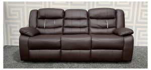 Roma Brown Bonded Leather Large Sofa Manual Recliner With Drinks Holder - Tears In Right And Left Seats - Loose Middle Seat Rear (see images) Ex-Display Showroom Model 48358