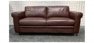 Burgundy Large Sisi Italia Semi Aniline Leather Sofa With Chrome Legs - Few Scuffs (see images) Ex-Display Showroom Model 48361