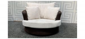 Brown And Cream XL Fabric Swivel Chair - Small Tear On Lower Right (see images) Ex-Display Showroom Model 48364