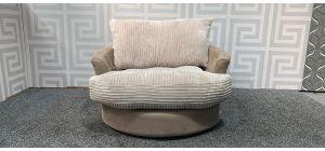 Beige And Cream XL Jumbo Cord Fabric Swivel Chair Ex-Display Showroom Model 48366