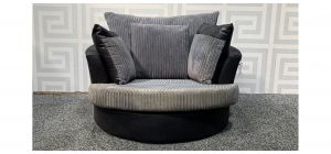 Grey Jumbo Cord XL Swivel Chair - 25cm Tear On Right Arm - Colour Faded - Dent On Rear (see images) Ex-Display Showroom Model 48367