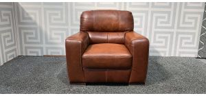 Lucca Brown Leather Armchair Sisi Italia Semi-Aniline With Wooden Legs - Colour Faded (see images) Ex-Display Showroom Model 48369