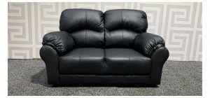 Black Leather Regular Sofa - Few Scuffs (see images) Ex-Display Showroom Model 48375