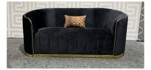Fendi Black Regular Fabric Sofa With Scatter Cushion - 12cm Seam Split On Top Rear Section (see images) Ex-Display Showroom Model 48377