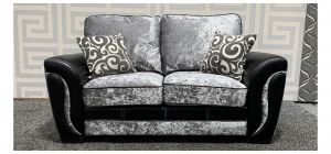 Rio Black And Silver Crushed Velvet Regular Fabric Sofa With Contrast Stitching Ex-Display Showroom Model 48378