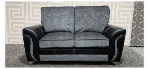 Rio Grey And Black Regular Fabric Sofa With Chrome Legs Ex-Display Showroom Model 48379