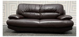Venice Brown Bonded Leather Large Sofa - Rear Back Cushion 3cm Seam Tear And Few Scuffs (see images) Ex-Display Showroom Model 48380