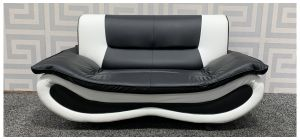 Black And White PU Regular Sofa With A Few Scuffs (see images) Ex-Display Showroom Model 48382