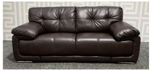 Alexis Brown Bonded Leather Large Sofa With Chrome Legs - Few Scuffs (see images) Ex-Display Showroom Model 48383