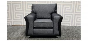 Grey And Black Fabric Armchair With Chrome Legs Ex-Display Showroom Model 48388