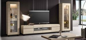 Perla White Larch Four Door TV Unit