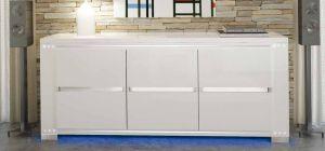 Elegance Diamond White Lux With Prestige Logo Three Door Buffet Cabinet Sideboard Assembled
