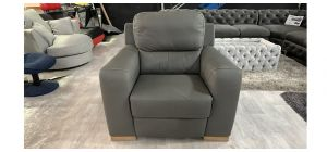 Lucca Electric Recliner Semi Aniline Leather Armchair 1 Seater Grey Ex-Display Showroom Model 46555