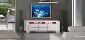 Elegance Diamond White Three Door TV Unit Assembled