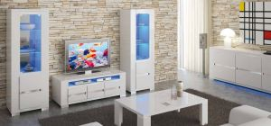 Elegance Diamond White Two Single Display Cabinets With Lights and TV Unit