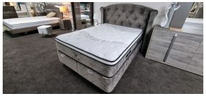 Visco Lux Bed Set King 4FT6 Upholstered in Plush Velvet fabric With Ottoman Storage Ex-Display Showroom Model