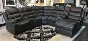 Adam Recliner Leathaire Large Grey Corner Sofa With Right Hand Chaise And Drinks Holders