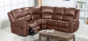 Belgravia Large Recliner Leathaire Corner Sofa 2C2 Chestnut Brown