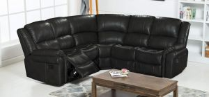 Bel Air Large Recliner Leathaire Corner Sofa 2C2 Black