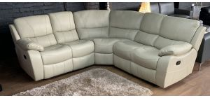 Belgravia Large Recliner 2C2 Leathaire Corner Sofa Cream Ex-Display Showroom Model
