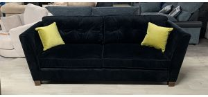 Black 3 Seater Fabric Sofa With Yellow Cushions Ex-Display Showroom Model