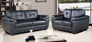 Bristol 3 + 2 Seater Black Leather Sofa Set, Delivery In 8 Weeks