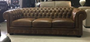 Chester Aniline Leather Sofa 3 Seater Brown Showroom Model 6018