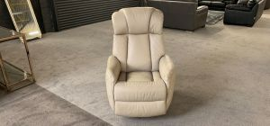 Leather Armchair 1 Seater Cream Electric Recliner Rocker Swivel Chair Showroom Model