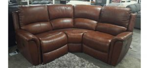 Kennedy La Z Boy Electric Recliner Leather Corner Sofa Brown Showroom Model 6159