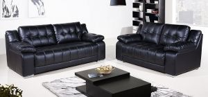 Roco Leather Sofa Set 3 + 2 Seater Black, Delivery in 8 weeks