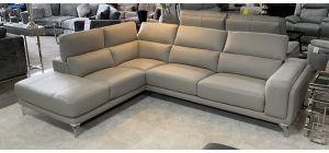 Linea Leather Corner Sofa LHF Light Grey With Adjustable Headrests And Chrome Legs