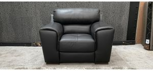 Sisi Italia Semi Aniline Leather Armchair 1 Seater Dark Grey Ex-Display Showroom Model (Scuff On Front Right And Left Arms And Rear Top Right, See Images) 46735