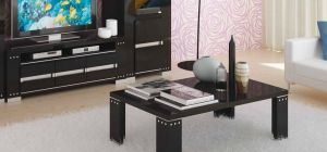 Armonia Diamond Black Coffee Table With Glass Top