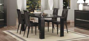 Armonia Diamond Black 1.9m Dining Table With Six Luxury Microfiber Chairs