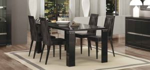 Armonia Diamond Black 1.9m Dining Table With Six Luxury Microfiber Chairs