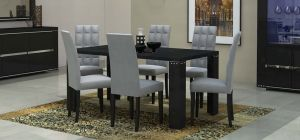 Armonia Diamond Black 1.9m Dining Table With Six Upholstered Chairs In Grey Vermont
