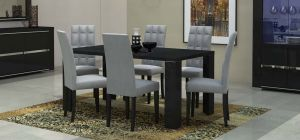 Armonia Black 1.9m Dining Table With Six Upholstered Chairs In Grey Vermont