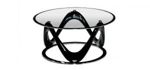 Drift Circular Coffee Table Clear Glass Top with Black High Gloss and Chrome Base