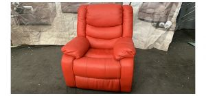 Red Electric Recliner Leather Armchair Ex-Display Showroom Model 46522 Scuff on front lower left arm (See Images)