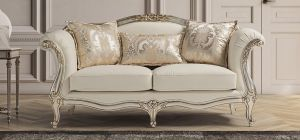 Elizabeth Aniline Ivory 3 Seater Newtrend Sofa with Champagne Gold Wooden Frame, Available for delivery in 8 weeks