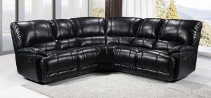 Eric Large Recliner Leathaire Corner Sofa 2C2 Black