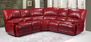 Eric Large Recliner Leathaire Corner Sofa 2C2 Red