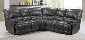 Eric Large Recliner Leathaire Corner Sofa 2C2 Grey