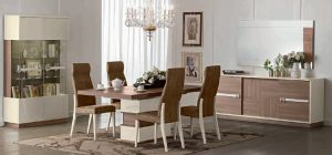 Evolution Ivory and Wood 1.8m Dining Table With Six Brown Chairs