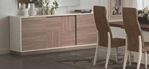 Evolution Ivory and Wood Three Door Buffet Cabinet Sideboard