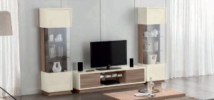 Evolution Ivory and Wood TV Unit Assembled