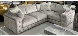 Zanda Fabric Corner Sofa RHF Silver Buffalo Suede