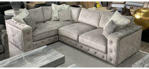 Zanda Fabric Corner Sofa LHF Silver Buffalo Suede