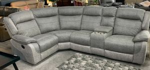 Myrius Recliner Fabric Corner Sofa LHF Two Tone Grey Endurance Fabric With Drinks Holders