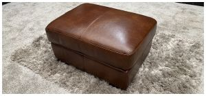 Lucca Semi Aniline Leather Footstool Brown 46739